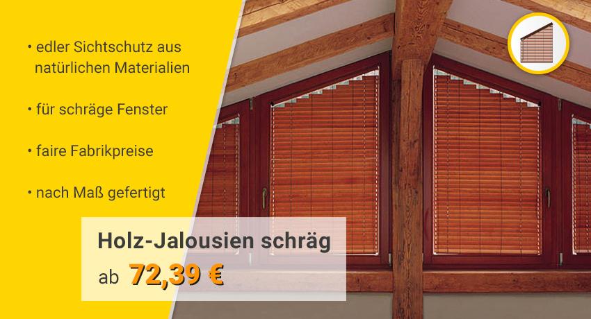 schräge Holz-Jalousien Kategorie-Banner